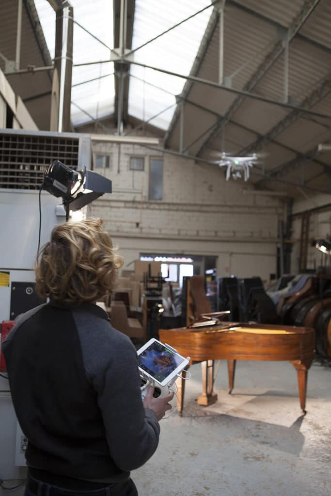 drone video atelier restauration piano